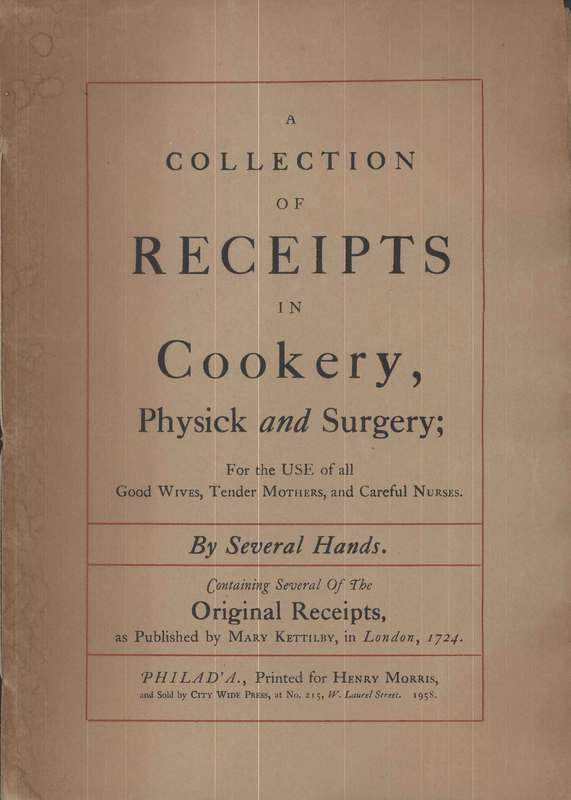 A Collection  of Receipts in Cookery