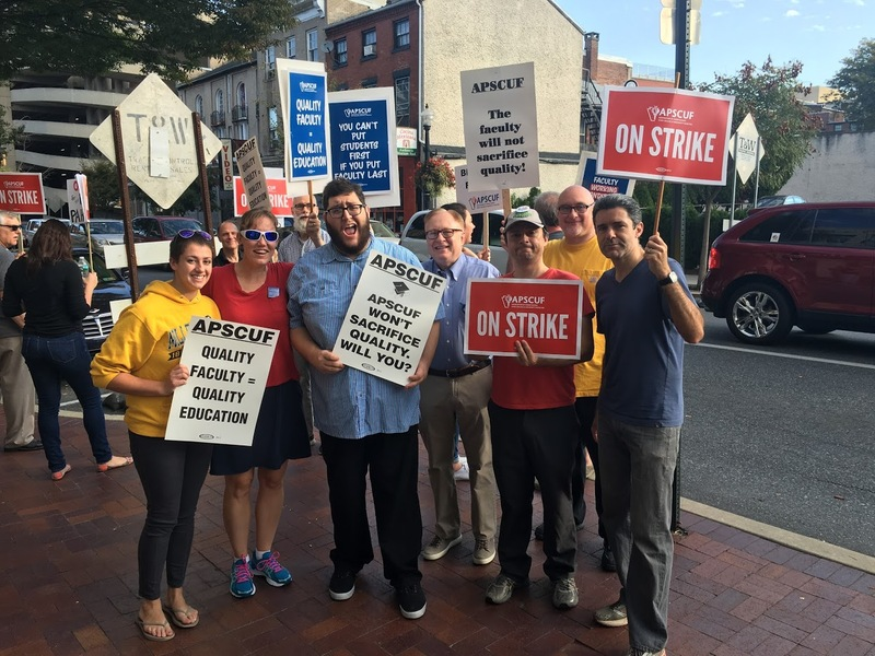 Faculty and Students from Music Department Stand on Picket Line in front of Ware Center in Downtown Lancaster