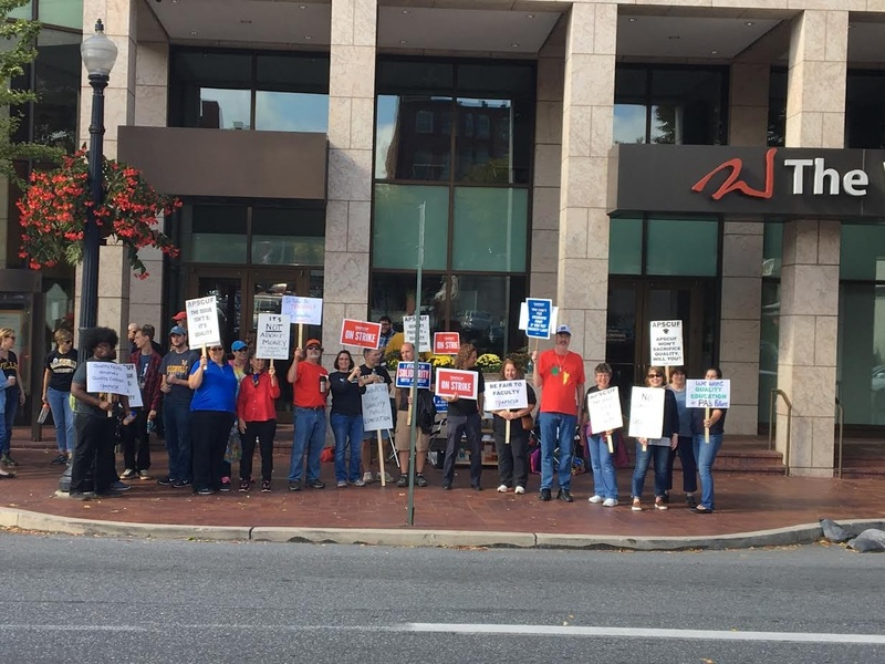 Faculty Members Protest in front of Millersville University's Ware Center in Downtown Lancaster